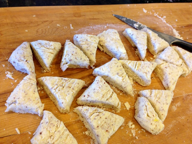Cut scones ready to be transferred to a baking sheet
